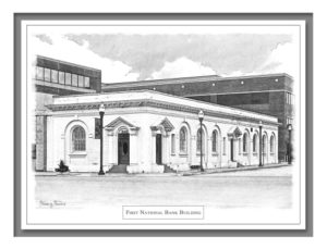 Conroe Note Card illustration of the First National Bank Building